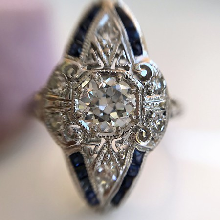 .83ctw Art Deco Transitional Cut Diamond & Sapphire Navette Ring