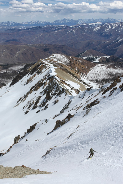 Our final ski of the day was down the north face of Bowery Peak.  1:00 PM.