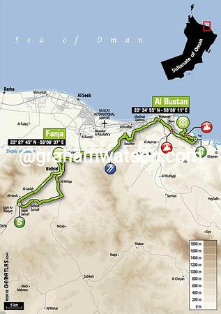 Tour of Oman Stage 2:  Fanja in Bidbid- Al Bustan 146 km