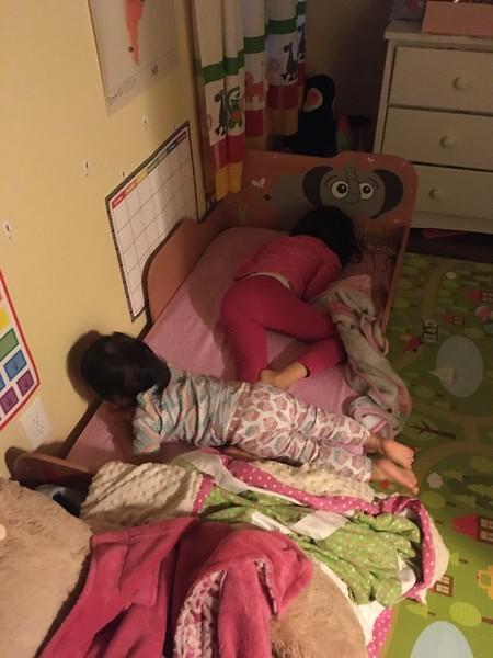 Skye and Eva sleeping together