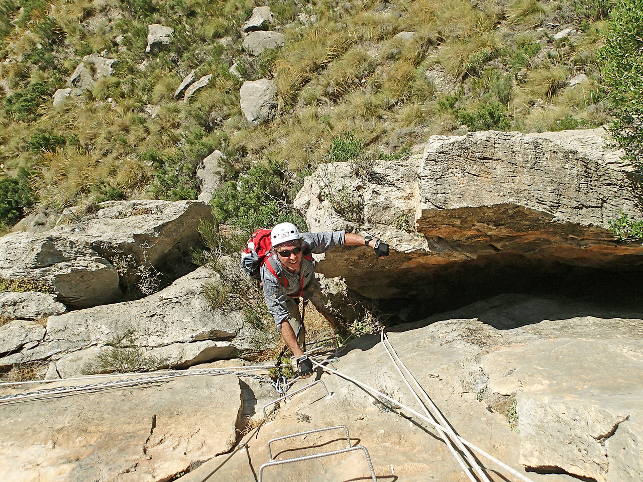 Philippe on the Penya del Figueret Via Ferrata