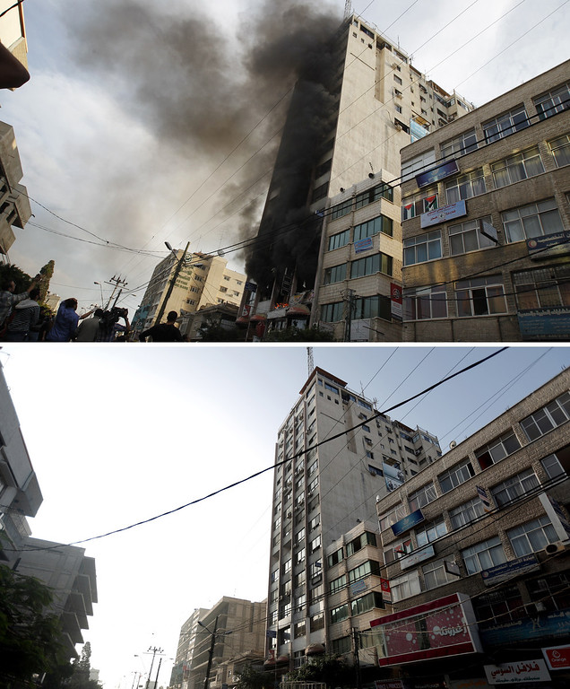 . This combination made on November 14, 2013 shows Palestinian firefighters extinguishing a blaze following an Israeli air strike on the Gaza City tower, housing Palestinian and international media (top), on November 19, 2012, and a picture taken on  November 13, 2013 of the same building following its renovation (bottom), a year after the Israeli army operation which was launched on Gaza following the killing of top Hamas military commander Ahmed Jaabari in an air strike.  AFP PHOTO / MOHAMMED  ABED/AFP/Getty Images
