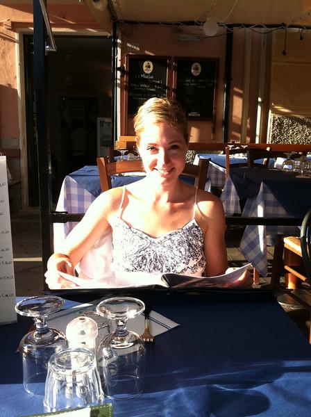 Dinner at a restaurant in Monterosso.