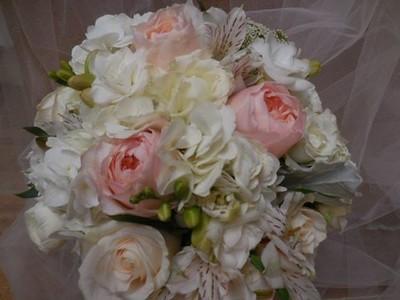 Garden roses, beans, white hydrangea white roses $140