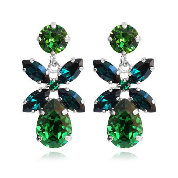 Mini Dione Earrings / Dark Moss Green + Emerald / Rhodium