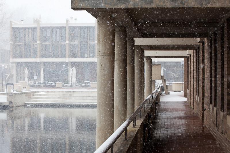 Snowfall at Lake Anne Plaza