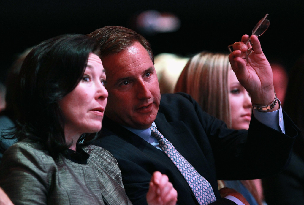 . Oracle co-presidents Safra Catz, left, and Mark Hurd talk as Oracle CEO Larry Ellison delivers a keynote address during the 2010 Oracle Open World conference on Sept. 19, 2010, in San Francisco, Calif. (Justin Sullivan/Getty Images)