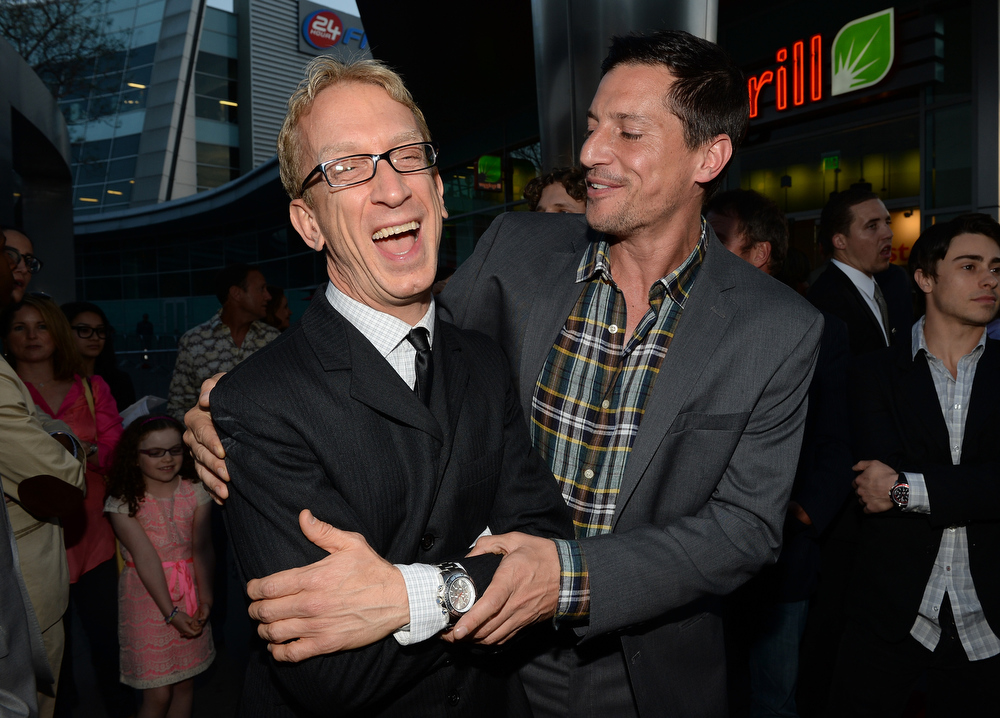 """. Actors Andy Dick and Simon Rex arrive for the premiere of Dimension Films\' \""""Scary Movie 5\"""" at ArcLight Cinemas Cinerama Dome on April 11, 2013 in Hollywood, California.  (Photo by Michael Buckner/Getty Images)"""