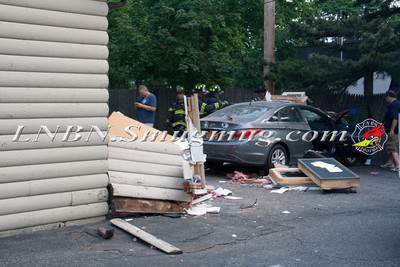West Islip F.D. Car Through Building Rear of 402 Montauk Highway 7-21-13