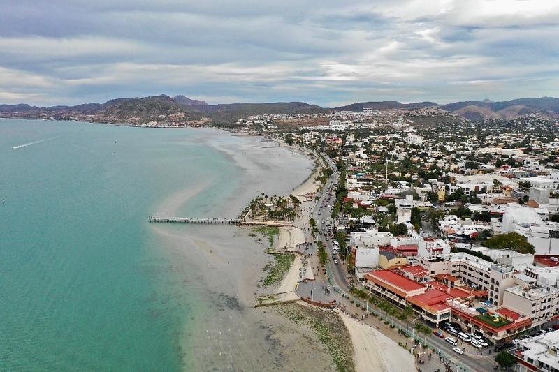 Drone View of the Malecon in La Paz Mexico