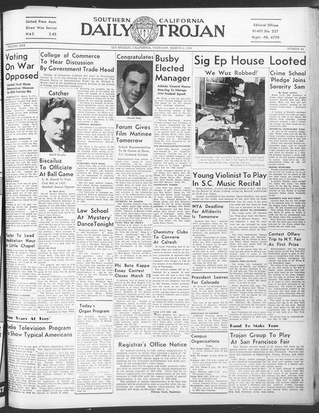 Daily Trojan, Vol. 30, No. 89, March 02, 1939