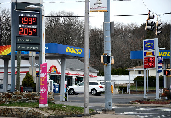 3/28/2020 Mike Orazzi | Staff Gas prices on Corbin Avenue in New Britain on Saturday.