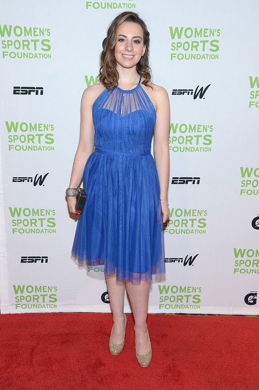 . NEW YORK, NY - OCTOBER 16:  Olympic figure skater Sarah Hughe attends the 34th annual Salute to Women In Sports Awards at Cipriani, Wall Street on October 16, 2013 in New York City.  (Photo by Michael Loccisano/Getty Images for the Women\'s Sports Foundation)