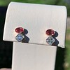 1.38ctw Padparascha Sapphire & Asscher Diamond Twin Stone Earrings 1