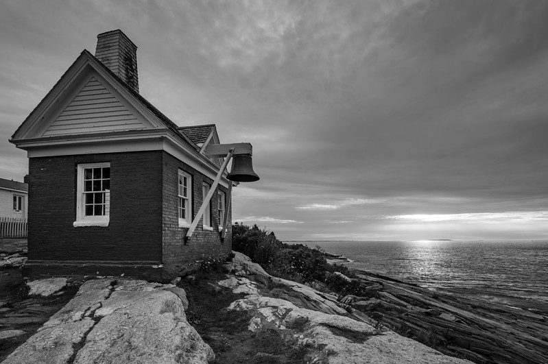 The Bell House at Pemaquid Point b&W