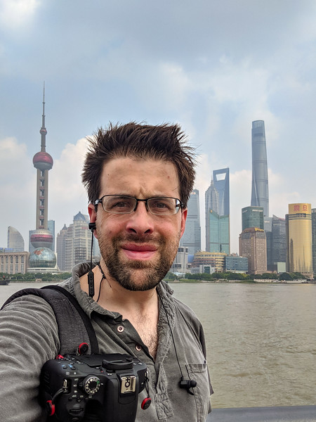 Selfie with the skyscrapers of Shanghai.