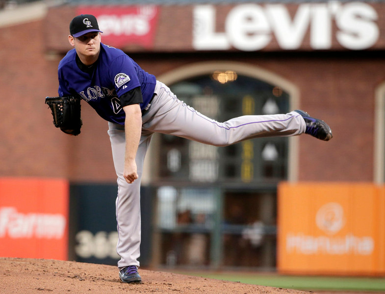 . Colorado Rockies starting pitcher Tyler Matzek throws to the San Francisco Giants during the first inning of a baseball game Monday, Aug. 25, 2014, in San Francisco. (AP Photo/Marcio Jose Sanchez)