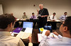 Archbishop James Keleher teaches Vatican II  at University of Saint Mary of the Lake, also called Mundelein Seminary on Sept. 19. The archbishop, retired for the Archdiocese of Kansas City in Kansas, teaches every Thursday. (Karen Callaway/Catholic New World)