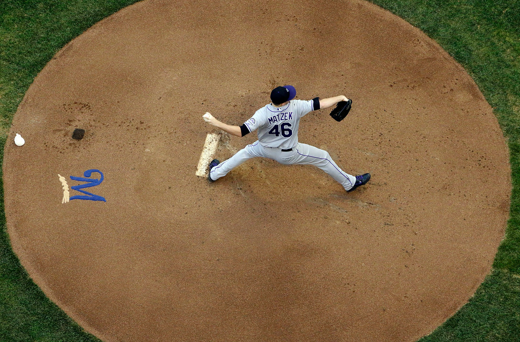 . Colorado Rockies starting pitcher Tyler Matzek throws during the first inning of a baseball game against the Milwaukee Brewers on Friday, June 27, 2014, in Milwaukee. (AP Photo/Morry Gash)