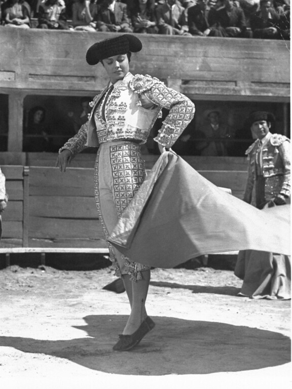 ". Esther Williams is shown in character as the matador in the 1947 film  ""Fiesta\"".  (AP Photo)"