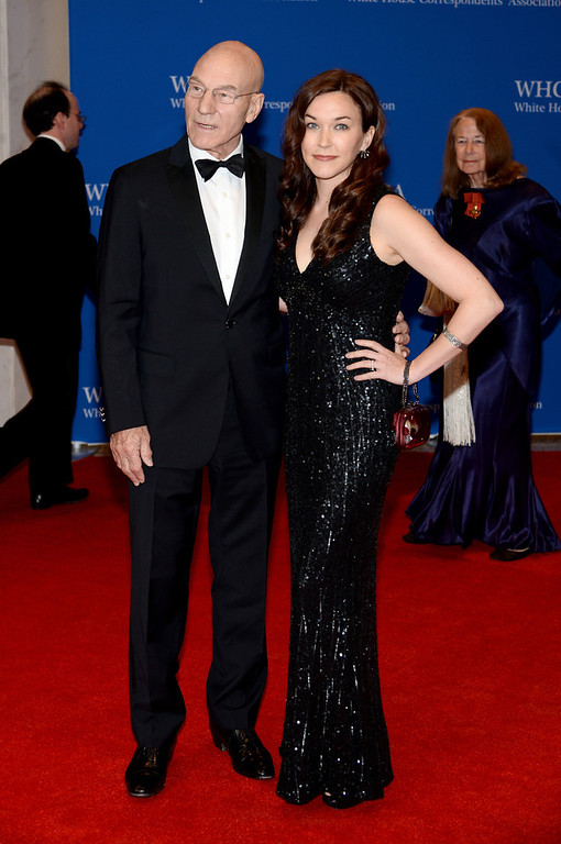 . Actor Patrick Stewart and Sunny Ozell attend the 100th Annual White House Correspondents\' Association Dinner at the Washington Hilton on May 3, 2014 in Washington, DC.  (Photo by Dimitrios Kambouris/Getty Images)