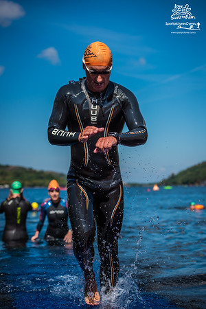 Big Welsh Swim  - Orange HAts Finish at Gilfach Ddu