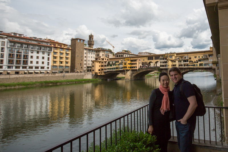 A view of Ponte Vecchio and Arno river. Interestingly, the Ponte Vecchio was the only bridge on the Arno in Florence spared destruction by the Germans during WWII due to its beauty and historic significance. They blew up the buildings at the ends to block the path, instead.