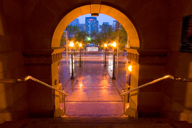 Through the arch at City Hall
