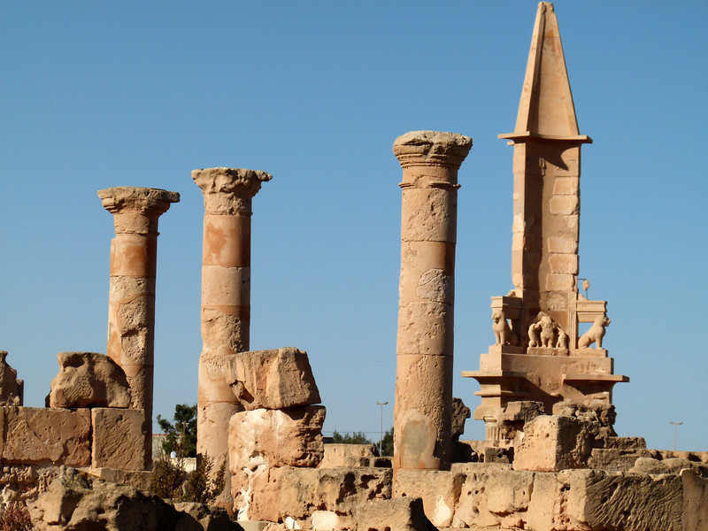 Mausoleum of Bes amongst the ruins at Sabratha - far right.