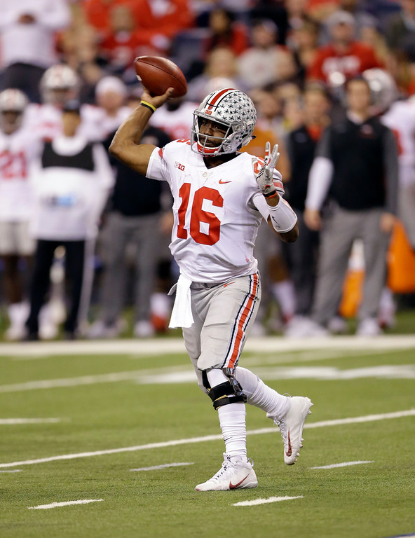 . Ohio State quarterback J.T. Barrett throws during the second half of the Big Ten championship NCAA college football game against Wisconsin, Saturday, Dec. 2, 2017, in Indianapolis. (AP Photo/AJ Mast)