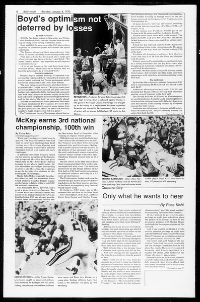 Daily Trojan, Vol. 65, No. 59, January 04, 1973