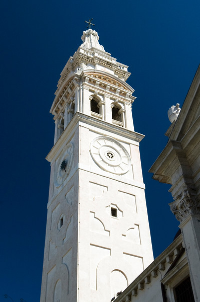 Baroque campanile or bell tower of Santa Maria Formosa church, Castello quartier, Venice, Italy