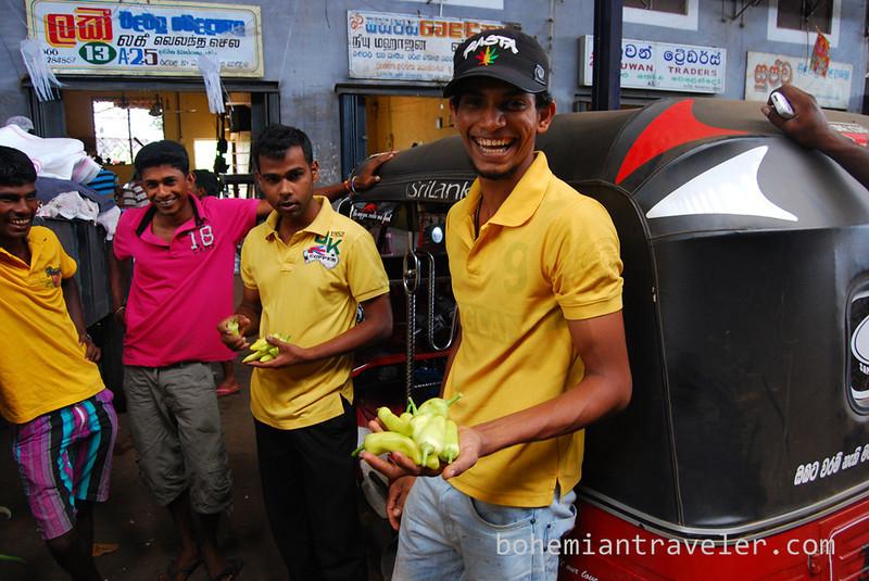 Guys having a laugh at Dambulla wholesale market in Sri Lanka.