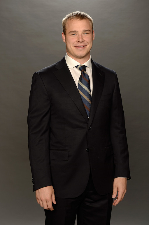 . Dustin Brown of the Los Angeles Kings poses for a portrait during the 2014 NHL Awards at Encore Las Vegas on June 24, 2014 in Las Vegas, Nevada.  (Photo by Harry How/Getty Images)