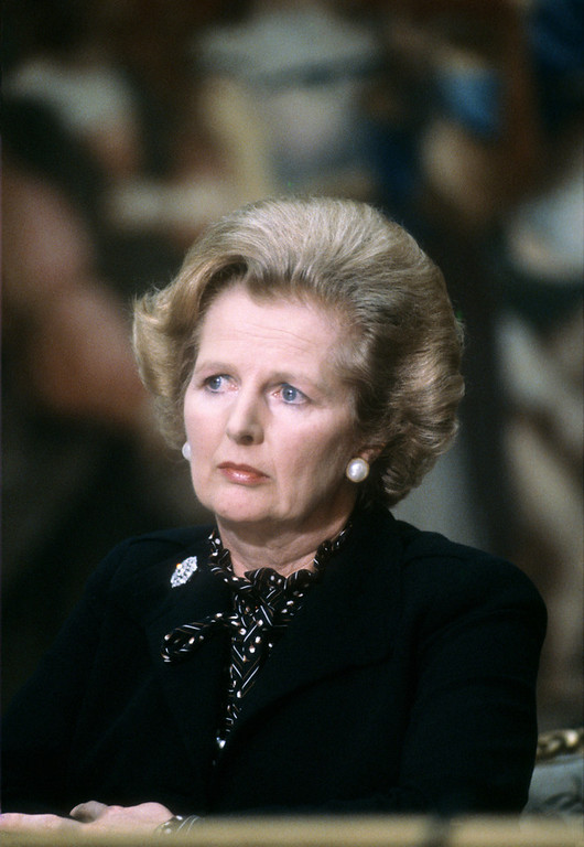 """. A picture dated September 9, 1980 shows British Prime Minister Margaret Thatcher attending the 5th Franco-British summit in Paris. Former British prime minister Margaret Thatcher, the \""""Iron Lady\"""" who shaped a generation of British politics, died following a stroke on April 8, 2013 at the age of 87, her spokesman said.  GABRIEL DUVAL/AFP/Getty Images"""