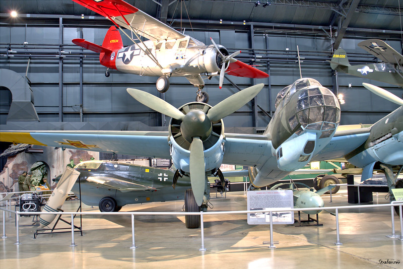 National Museum of the United States Air Force, Dayton, Ohio,   04/12/2019  Junkers Ju-88D-1/Trop, C/N: HK595  430650 Hanging behind is Noorduyn UC-64A Norseman c/n 561 and a glimpse of Messerschmitt Me 163B Komet 191095  This work is licensed under a Creative Commons Attribution- NonCommercial 4.0 International License.