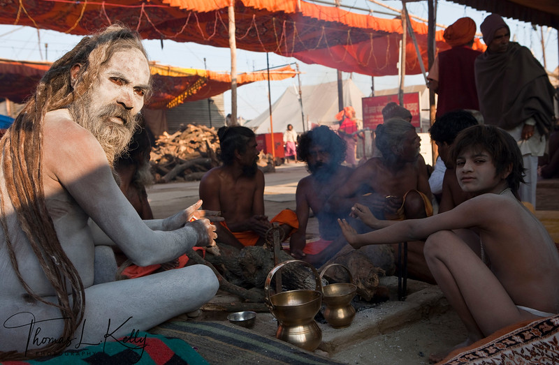 Sadhu initition at Kumbha Mela in Allahabad, India.