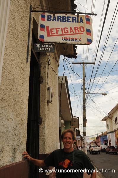 Dan Outside Barber Shop - Leon, Nicaragua