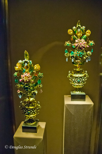 Floral Bouquets constructed of gold and jewels at the Imperial Treasury, Vienna