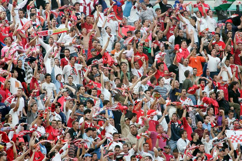 Sevilla FC fans. Local derby between Real Betis and Sevilla FC, Ruiz de Lopera stadium, Seville, Spain, 11 May 2008.