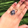 2.27ct (est) Art Deco Old European Cut Diamond with Amethyst Halo Ring 11
