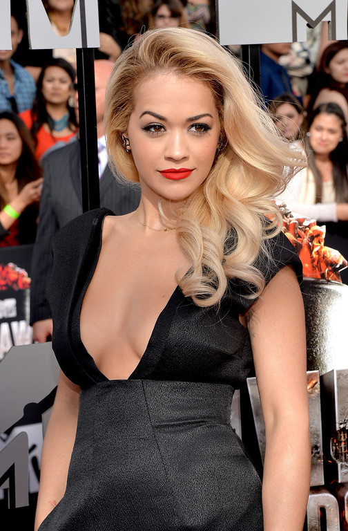 . Singer Rita Ora attends the 2014 MTV Movie Awards at Nokia Theatre L.A. Live on April 13, 2014 in Los Angeles, California.  (Photo by Michael Buckner/Getty Images)