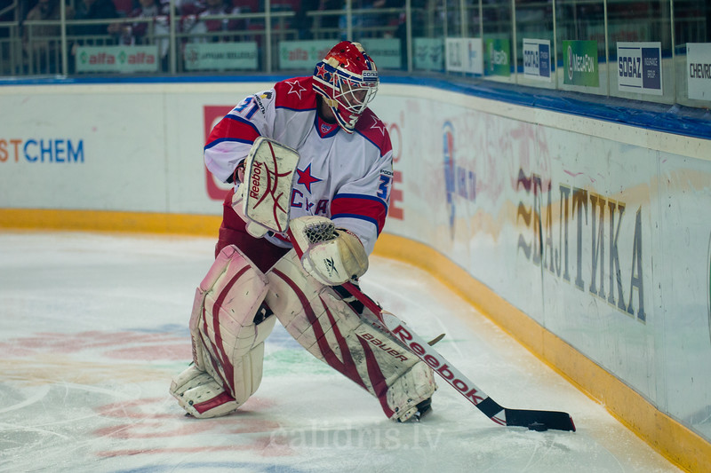 Goaltender of CSKA Moscow Stana Rastislav (31) kicks the puck from behind of the goal