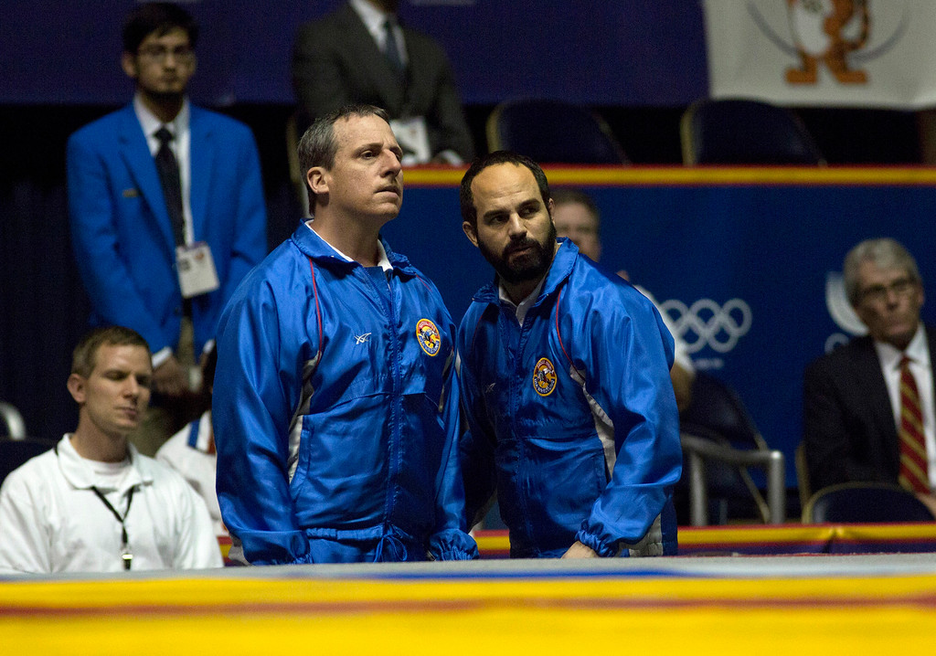 """. This image released by Sony Pictures Classics shows Steve Carell, left, and Mark Ruffalo in a scene from \""""Foxcatcher.\"""" Ruffalo was nominated for a Golden Globe for best supporting actor for his role in the film on Thursday, Dec. 11, 2014. The 72nd annual Golden Globe awards will air on NBC on Sunday, Jan. 11.  (AP Photo/Sony Pictures Classics, Scott Garfield)"""
