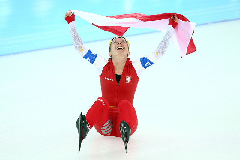 . Luiza Zlotkowska of Poland celebrates winning the silver medal during the Women\'s Team Pursuit Final A Speed Skating event on day fifteen of the Sochi 2014 Winter Olympics at  at Adler Arena Skating Center on February 22, 2014 in Sochi, Russia.  (Photo by Clive Mason/Getty Images)