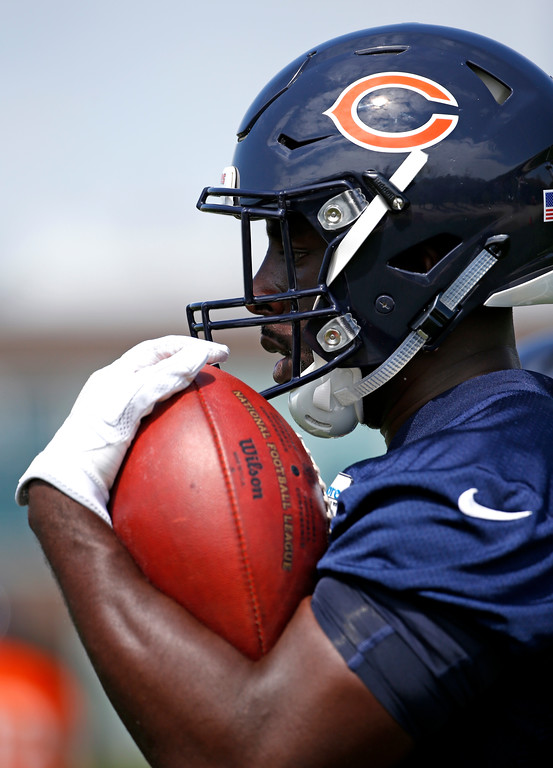 . Chicago Bears fullback Freddie Stevenson holds a ball during NFL football rookie minicamp in Lake Forest, Ill., Friday, May 12, 2017. (AP Photo/Nam Y. Huh)