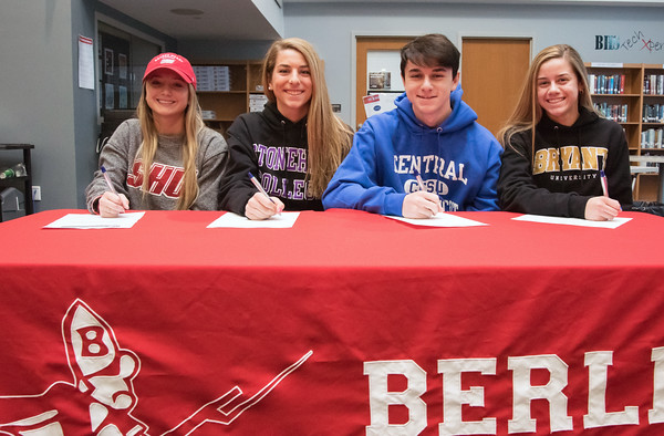 04/05/18 Wesley Bunnell   Staff Berlin High School students signed their letters of intent to play college sports on Thursday morning at Berlin High School. Lexi Kaversky, L, committed to Sacred Heart, Julia Sisti committed to Stonehill, Noah Silverman to CCSU and Nikki Xiarhos to Bryant.