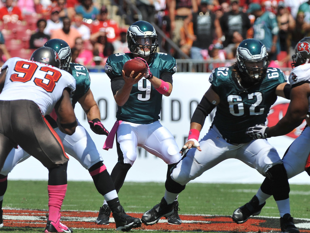 . Quarterback Nick Foles #9 of the Philadelphia Eagles takes a snap in the1st quarter against the Tampa Bay Buccaneers October 13, 2013 at Raymond James Stadium in Tampa, Florida. (Photo by Al Messerschmidt/Getty Images)