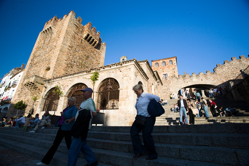Plaza Mayor and Bujaco Tower, Caceres, Spain