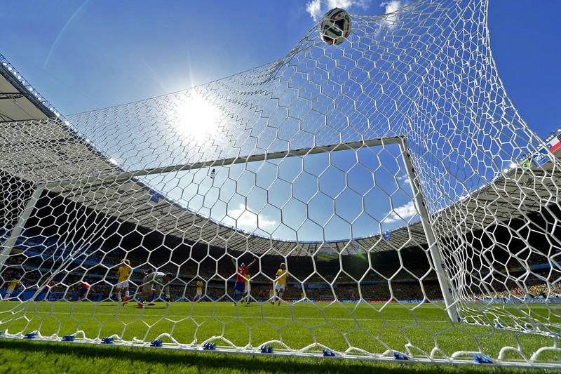 . Brazil\'s goalkeeper Julio Cesar concedes a goal during the round of 16 football match between Brazil and Chile at The Mineirao Stadium in Belo Horizonte during the 2014 FIFA World Cup on June 28, 2014. (MARTIN BERNETTI/AFP/Getty Images)
